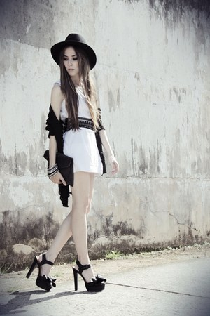 black asos heels - white SKS dress - black Chicwish cardigan