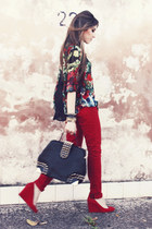 ruby red Renner pants - black floral print FashionCooltureShop shirt