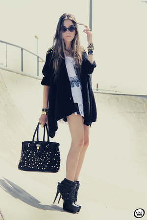black Choies boots - black studded Choies cardigan
