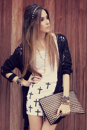 black studded romwe bag - black Chicwish cardigan - white Labellamafia skirt
