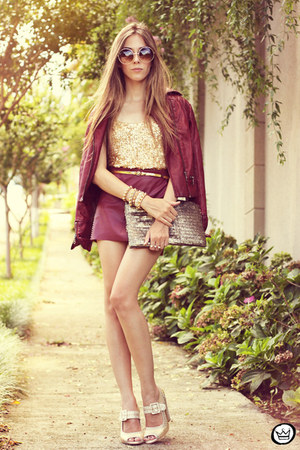 beige Kaf bracelet - crimson asos jacket - tan romwe bag