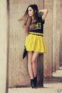 Yellow-romwe-skirt