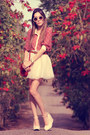 Coral-miss-patina-shirt-beige-romwe-sunglasses-peach-minusey-skirt