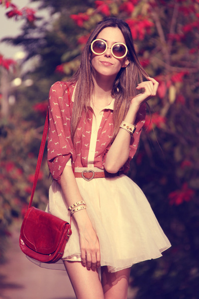 peach MINUSEY skirt - coral miss patina shirt - beige romwe sunglasses