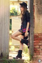 black Displicent t-shirt - black Choies boots - ruby red romwe shirt