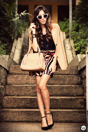 tan Brech da Neide blazer - tan romwe bag - tawny Displicent skirt
