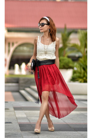 ruby red hi lo skirt TWFS skirt - black tassle belt belt
