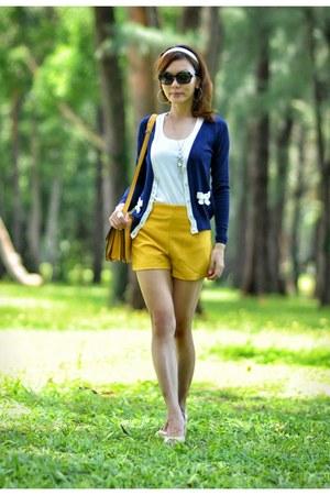 yellow TWFS bag - yellow yellow TWFS shorts - navy blue TWFS cardigan