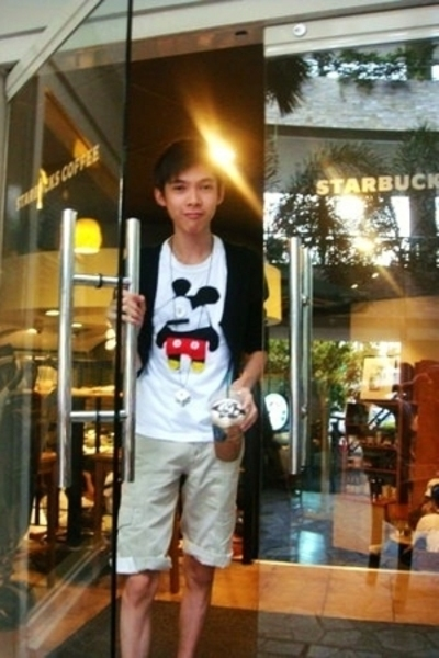 white Mickey Mouse shirt - white Dice necklace - black