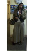 f21 skirt - vintage blazer - Express coat - Louis Vuitton purse - Nine West shoe