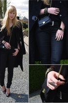 black Mango coat - black H&M jeans - black Zara shirt - black H&M bag