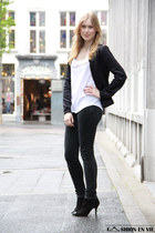 black Zara boots - black Levis jeans - white Zara Trf top - Tubes necklace