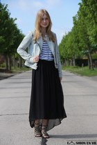 black maxi Esprit skirt - Zara Trf jacket - studded Zara sandals