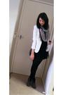 Black-supre-dress-white-valleygirl-blazer-gray-sportsgirl-scarf-black-diva