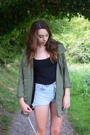 dark green Zara jacket - light blue denim Urban Outfitters shorts