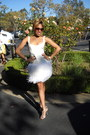 White-boxy-feathered-saks-dress-silver-t-strap-jeweled-heels
