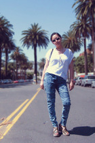 Zara top - H&M jeans - Zara - American Apparel sunglasses