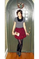 gray Wet Seal shirt - black Forever 21 necklace - red Forever 21 skirt - gray sh