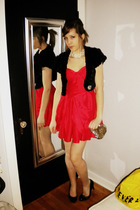 black Forever 21 - red Forever 21 dress - white vintage necklace - silver vintag