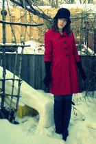 red Tulle coat - black over the knee Wet Seal boots - black Forever 21 hat