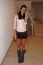 Bershka t-shirt - Ann Christine jumper - Bershka skirt - pull&bear bag