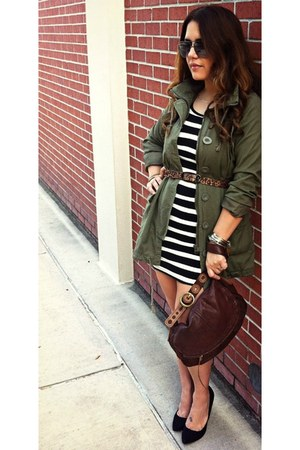 ross jacket jacket - striped dress Forever 21 dress - brown bag Lucky Brand bag