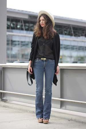 black H&M blouse - blue Miss Sixty jeans - black H&M cardigan
