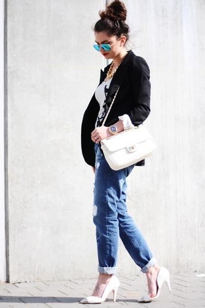 ivory Love Moschino bag - blue Pimkie jeans - black Primark blazer