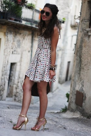 white VJ-style dress - dark brown Louis bag - gold Buffalo sandals