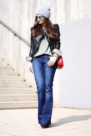 black lookbookstore jacket - blue Oasis jeans - silver American Apparel hat