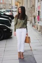 tawny Zara wedges - white H&M jeans - bronze Topshop bag