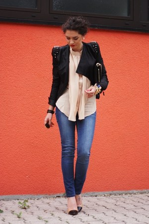 black lookbookstore jacket - blue Oasis jeans
