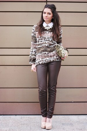 peach Zara sweater - brown H&M pants