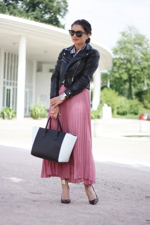 pink Romwecom skirt - black Georgia Rose bag