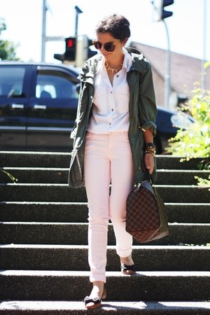 brown Louis Vuitton bag - dark khaki Primark jacket - brown Miu sunglasses