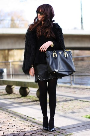 black Prada bag - black Kurt Geiger wedges