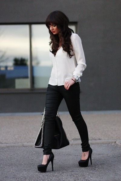 black Romwecom bag - black warehouse pants - off white Zara blouse