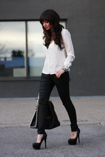 black Romwecom bag - black warehouse pants - off white Zara blouse