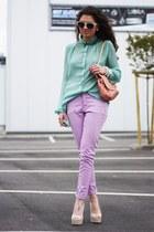 light purple Oasis jeans - salmon romwe bag - beige Steve Madden pumps