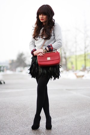 black romwe skirt - periwinkle Mango sweater - ruby red Love Moschino bag
