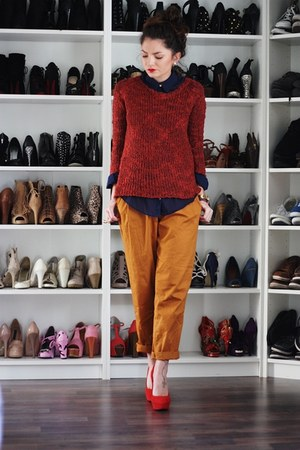 light orange Primark pants - ruby red Primark sweater