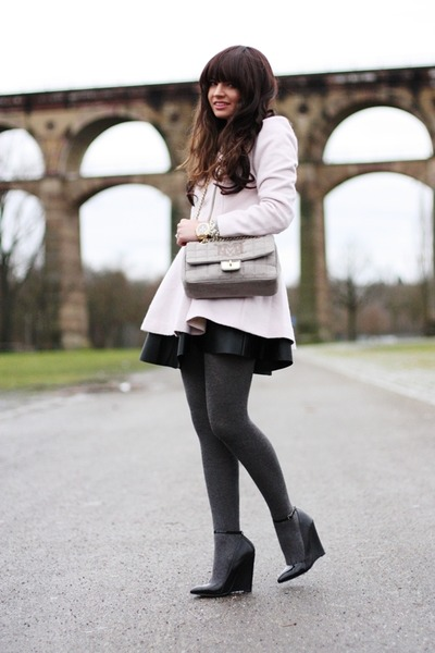black Topshop skirt - light pink Sheinside coat - charcoal gray lovemoschino bag
