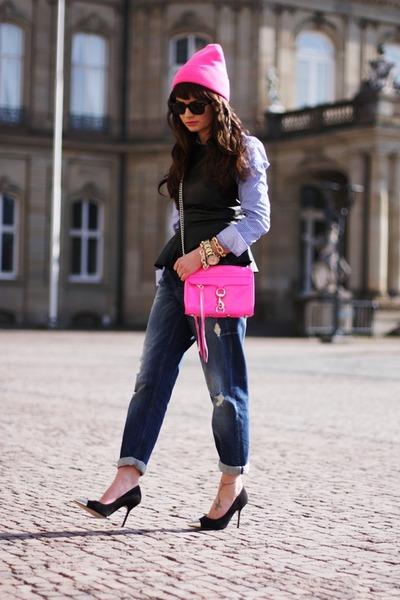 hot pink rebecca minkhoff bag - blue GINA TRICOT jeans