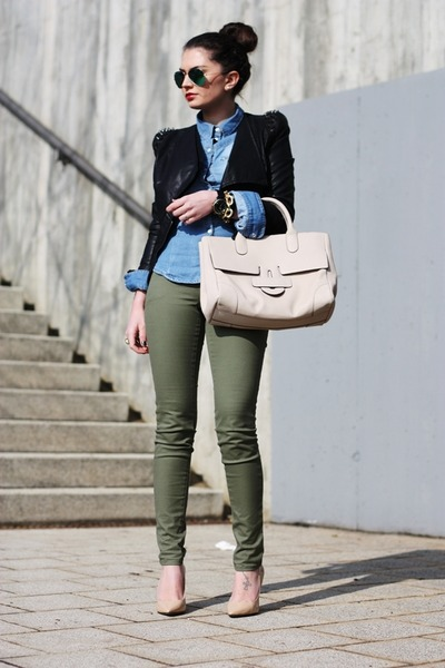 neutral Tila March bag - black lookbookstore jacket - green ray-ban sunglasses