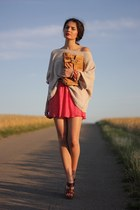 neutral H&M sweater - burnt orange Topshop bag - red Zara skirt - dark brown Fre