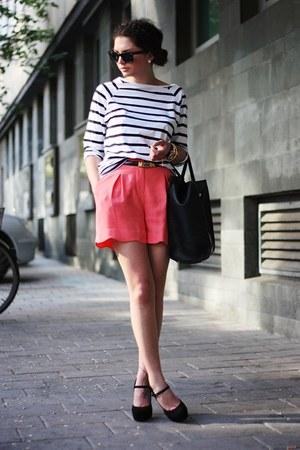 salmon Oasis shorts - black VJ-style bag