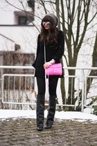 black New Yorker sweater - hot pink rebecca minkhoff bag - black H&M skirt