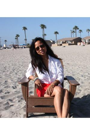 red madewell skirt - white Forever 21 blouse - camel tory burch sandals