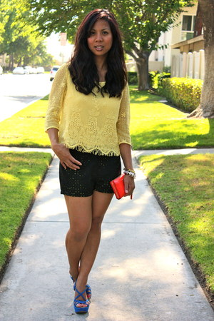 yellow Forever 21 blouse - black Forever21 shorts