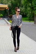 black Topshop jeans - black Chanel bag - black Topshop top - black asos heels